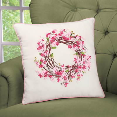 Embroidered Cherry Blossom Wreath Accent Pillow
