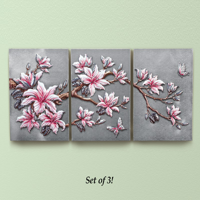 Lilies on a Branch Wall Art Panel Set