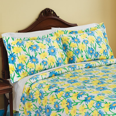 Blue and Yellow Daisy Fleece Pillow Sham