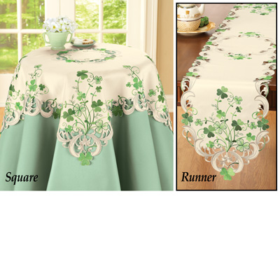 Embroidered Irish Shamrock Table Linens