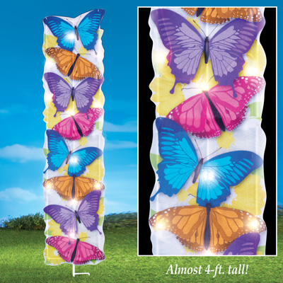 Lighted Stacked Butterfly Garden Stake