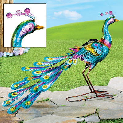 Colorful Peacock Garden Figurine