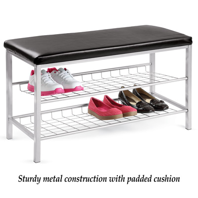 2-Tier Shoe Rack with Bench