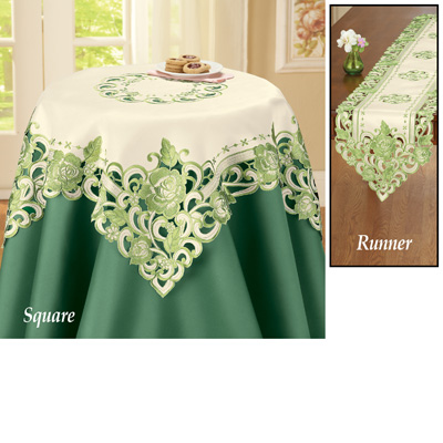 Exquisite Green Roses Table Linens