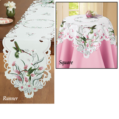 Embroidered Floral Hummingbird Table Linens