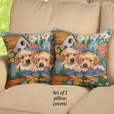 Lab Puppies Tapestry Pillow Covers - Set of 2
