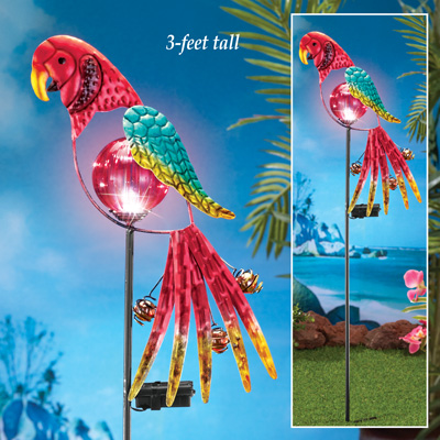 Solar Tropical Parrot Garden Stake From Collections Etc