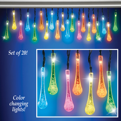 Solar Color Changing Raindrops Light String