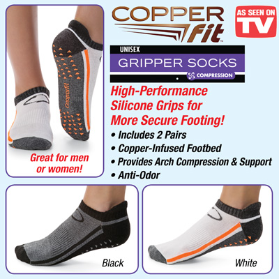 Copper Fit Gripper Socks with Silicone Grips