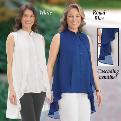 Sleeveless Blouse with Cascading Hem