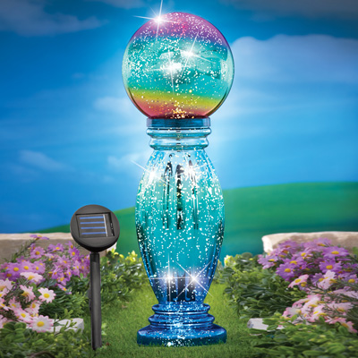Glass Column Gazing Ball with Solar Light