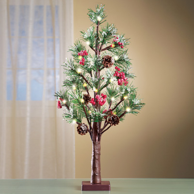 "Rustic Lighted Holiday Evergreen Pine Tree 26""H"