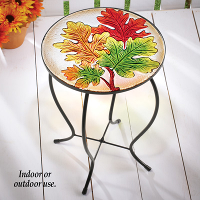 Round Fall Leaves Accent Table