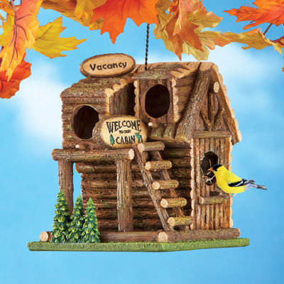 Hanging Northwoods Log Cabin Birdhouse