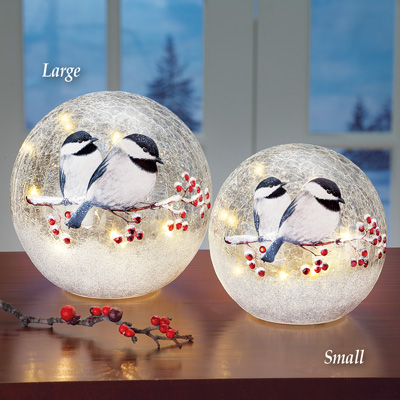 Lighted Chickadee Tabletop Glass Ball