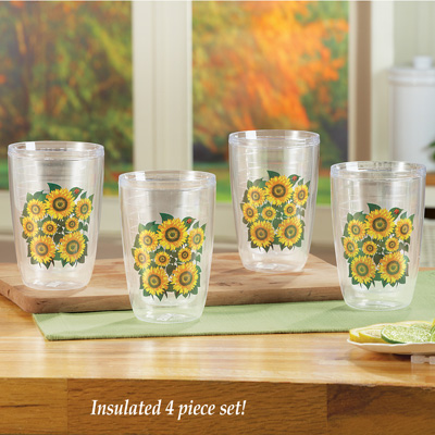Insulated Sunflower Tumblers - Set of 4