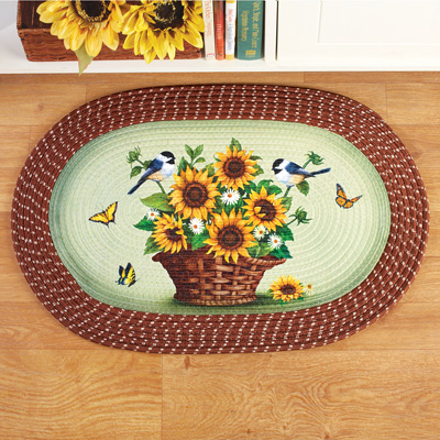 Sunflowers and Chickadees Braided Accent Rug