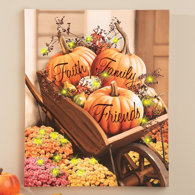 Lighted Autumn Pumpkin Wheelbarrow Canvas