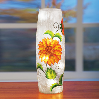 Crackle Glass Sunflower Table Lamp