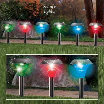 Color Changing Solar Pathway Stakes - Set of 6