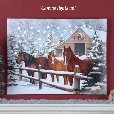 Lighted Winter Horses Trio Barn Canvas From Collections Etc