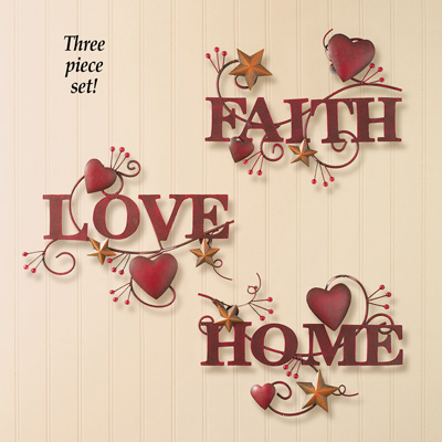 Metal Home, Love and Faith Wall Art