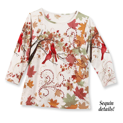 Embellished Fall Cardinal Top
