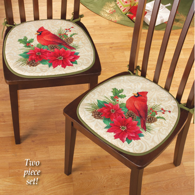 Holiday Cardinal Foam Chair Cushions - Set of 2