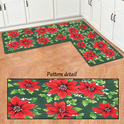 Holiday Poinsettia L-Shaped Corner Rug