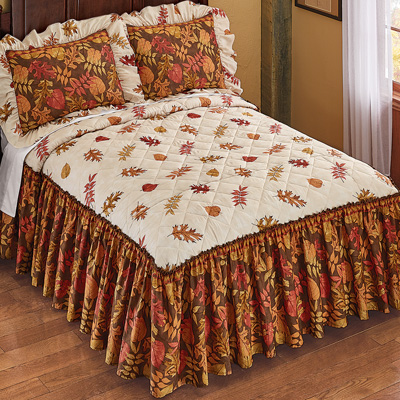 Autumn Foliage Quilt Top Bedspread