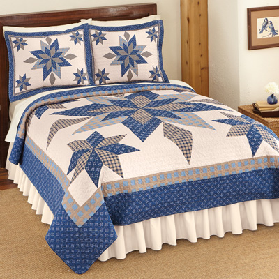 Reversible Navy Star Patchwork Quilt