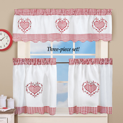 Gingham Sweetheart Cafe Curtain Set
