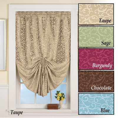 Scroll Pattern Pull Up Window Shade