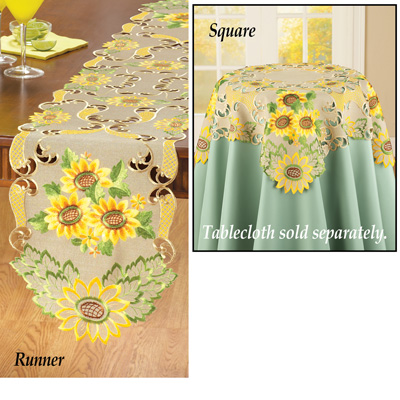 Embroidered Exquisite Sunflowers Table Linens