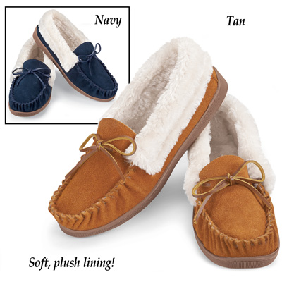 Faux Suede Plush Lined Moccasins