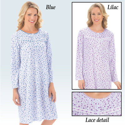 Lace Trim Floral Long Sleeve Nightgown