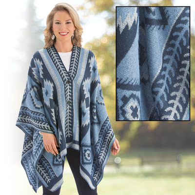 Aztec Poncho Sweater with Button Closure