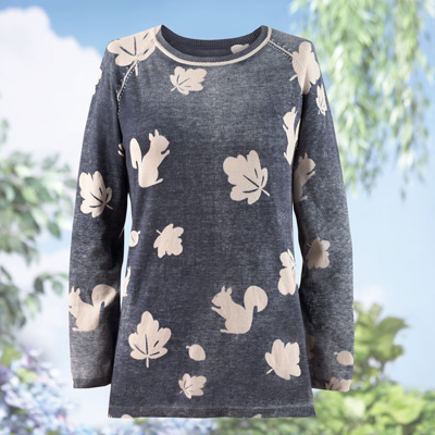Squirrel and Leaves Printed Sweater