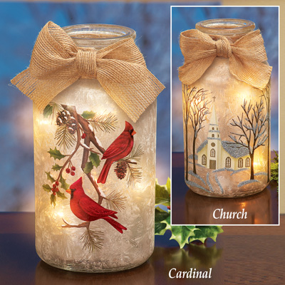 Frosted Christmas Mason Jar Table Lamps