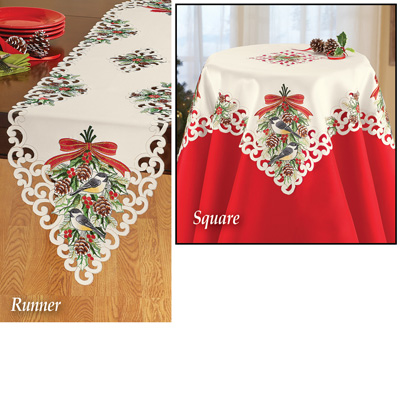 Chickadee Woodland Christmas Table Linens