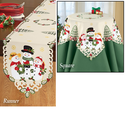 Snowman Family Christmas Table Linens