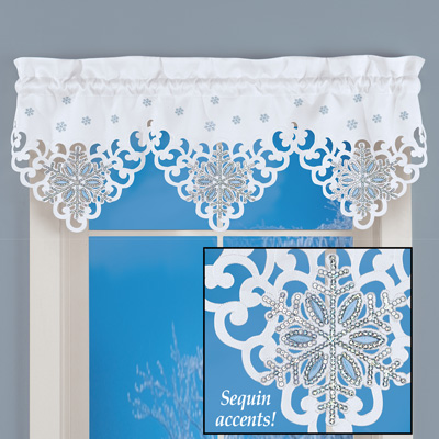 Sequin Snowflakes Valance Curtain