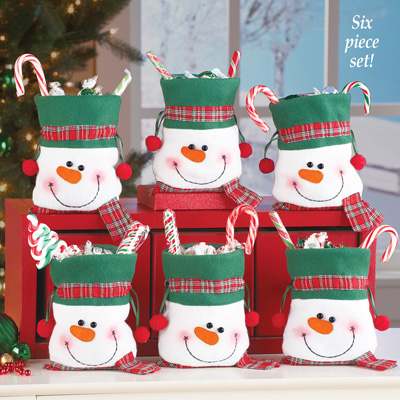 Snowman Christmas Treat Bags Set of 6