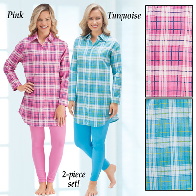 Flannel Shirt & Legging Two Piece Outfit Set