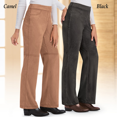 Faux Suede Bootcut Pants with Elastic Waist