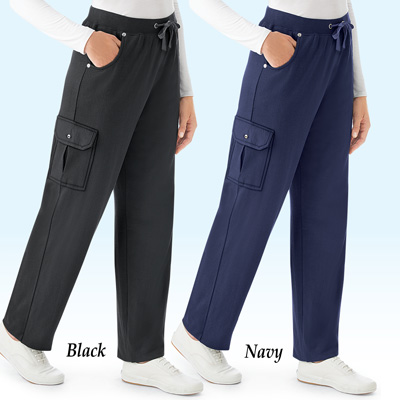 French Terry Elastic Waist Cargo Pant