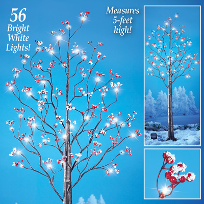 Lighted Solar Tree with Berries Christmas Decoration