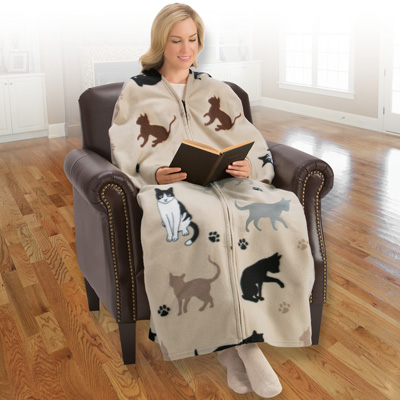Cat Cuddle Wrap Blanket with Arms