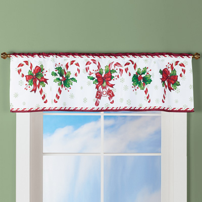Candy Cane Christmas Curtain Valance