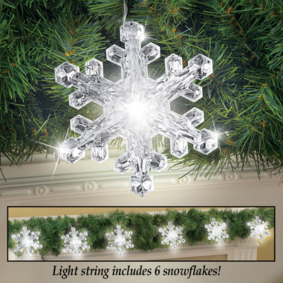 Large Acrylic LED Snowflake Light String
